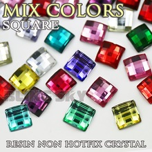 300PCS/LOT Mix Colors 6x6mm Square Resin Rhinestones Nail Crystals Acrylic Non Hotfix Flat back glitters for DIY jewelry Stone(China)