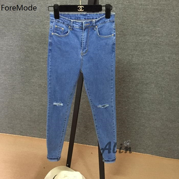 ForeMode Knee Hole In Nine Points Bigger Sizes Tight Jeans Female Trousers Fat Mm Thin Foot Pencil PantsОдежда и ак�е��уары<br><br><br>Aliexpress