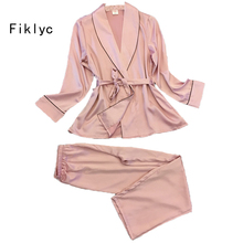 Fiklyc brand full sleeve sexy women's silk pajamas set 2017 new arrive lovers' day gifts for wife pijamas set high quality suit