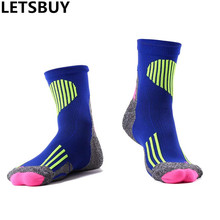 LETSBUY Fluorescence men women nylon cotton compression sport socks long elite basketball sock towel bottom running football sox
