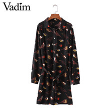 Women vintage bird print dress sashes pleated turn down collar long sleeve casual loose female dresses vestidos QZ2838