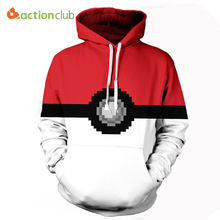 ACTIONCLUB 2017 Spring New Fashion mens hoodies and sweatshirts 3d Pokemon Go pocket monster Valor Team Coats Casual Sportswear