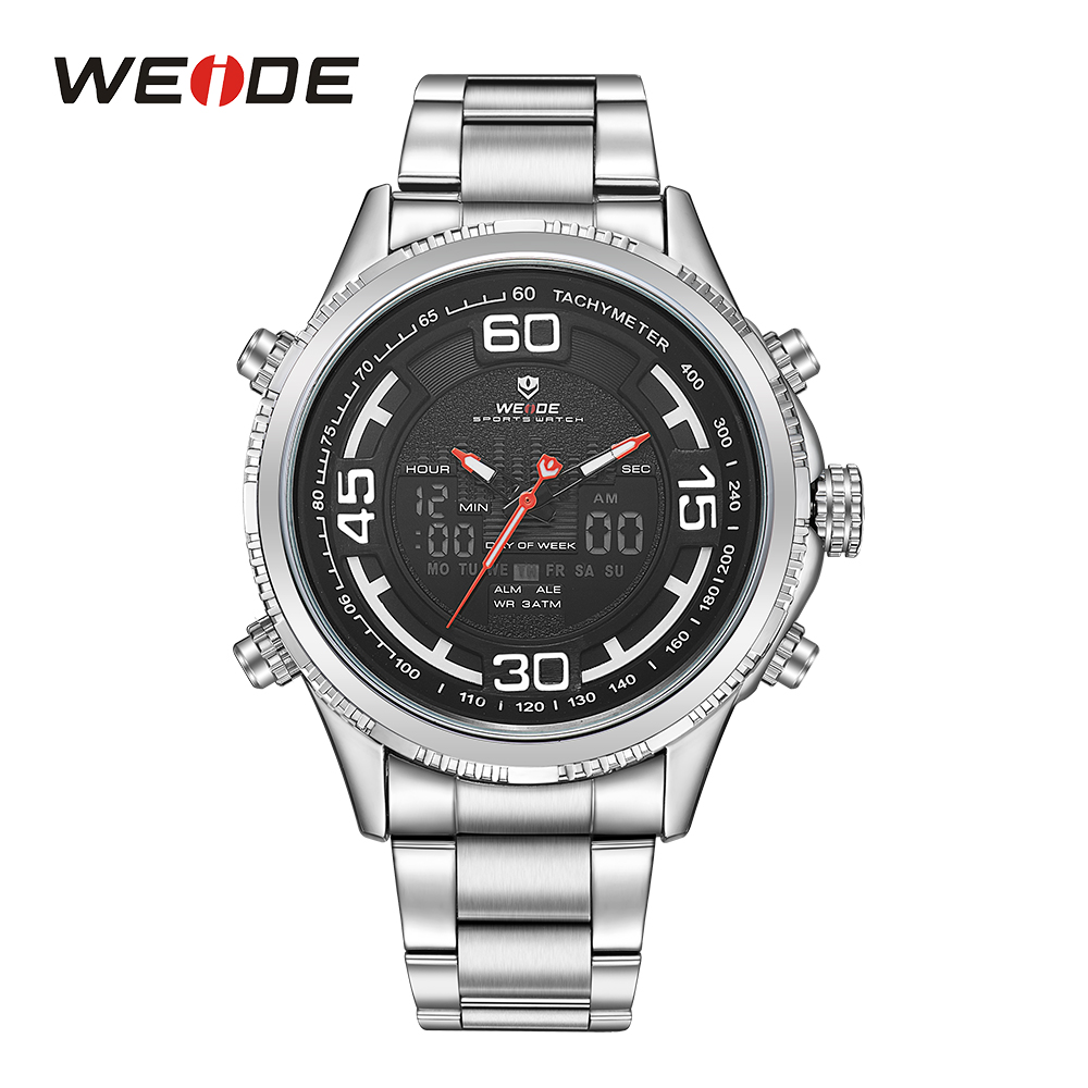 WEIDE Military Men Analog LCD Display Sport Digital Calendar Date Day Week Quartz Movement Back Light Stopwatch Wristwatch<br>