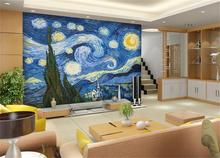 3D wallpaper/custom mural/photo wall paper/Van Gogh sky pictures background wall/TV/sofa/bedding room//bar/Hotel/living room