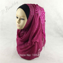WEDDING HIJAB HEADSCARF HEAD PIECE CLOTHING FASHION BRIDAL SHAWL SCARVES MOUSSELINE, Can Choose 10 Colors(China)