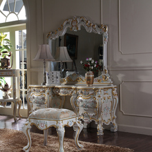 French Romantic Classical Furniture, Handmade Solid Wood Carving, Dressing Table, Makeup Mirror(China)
