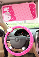 36cm 38cm Hello kitty girl Car Steering Wheel Covers + CD clip synthon pink universal 4 seasons Auto Interior Accessories kits