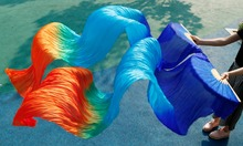 Free shipping belly dance fan veil colorful 100% silk fan veil 3 colors on the surface of dyed royal blue+turquoise+red