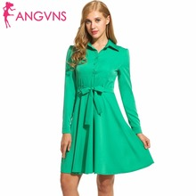 ANGVNS Vintage Big Swing Dresses Retro 1950s Lace up Elegant A-line Full Sleeve OL Spring winter Dress Mini Vestidos with Belt(China)