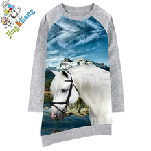 girls dress Long sleeve Girl clothing Animals horse Fashion Kids Baby Dresses bibs Print Children Dress Designer Kids Clothes