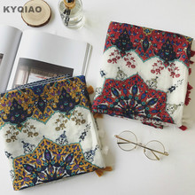 KYQIAO Bohemian head scarf 2017 women autumn winter Thailand style ethnic long yellow red print scarf birthday gifts(China)