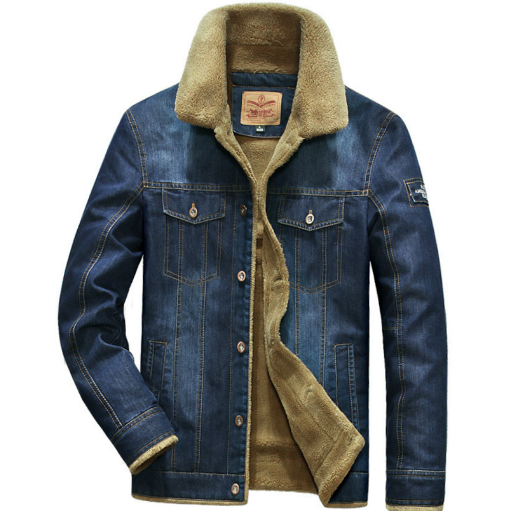 Mens Jackets 2019 Winter Warm Demin Jacket Thicken Vintage Jeans Coat for Men Outwear Plus Velvet Casual Clothing Plus Size 5XL