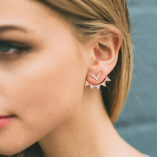 Trendy CZ Curved Geometric earrings Ear Jacket for Women Elegant Front Back Two Sides Earrings fashion Jewelry Accessories 5247(China)