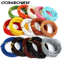 COMEOWN 10M Mixed Color Round Real Leather Cord 1.5mm Beading Rope for Pendants Necklace Bracelet DIY Jewelry Making Cords(China)