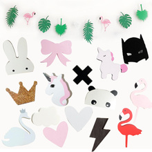 Ins Wooden Kids Room Clothes Hook Wall Sticker Flamingo Swan Unicorn Cross Rabbit Bat Bunny Bow Hanger Hook Home Decoration(China)