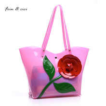 beach bag floral transparent bag clear pvc plastic totes handbag women summer shopping bag 2017 new orange yellow blue pink(China)