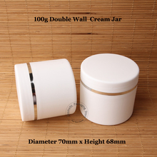 20pcs/Lot Wholesale High Quality 100ml Plastic Cream Jar Double Wall Facial Mask Container 100g Frosted Packaging Refillable(China)