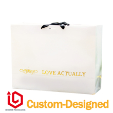white color + gold logo printing CMYK packaging custom paper bag(China)