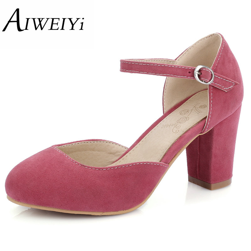 AIWEIYi Vintage Women Pumps 2017 Fashion Mary Janes High Heels Spring Prom Wedding Shoes Womens Platform Heels Big size 34-43(China (Mainland))
