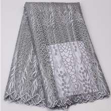 Women Fashion Clothes High Quality Wholesale Silver Grey Latest Net Dress Designs Tulle Lace Fabric MR413B-9 African Lace Fabric