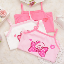 3pcs/lot New Soft Cute Fashion summer clothes Cartoon Pattern Children Printing Vest Suitable for 2-8years Girl tops tanks(China)