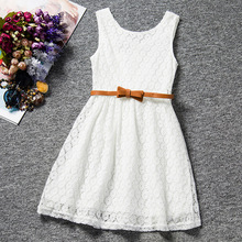 [clearance sale] Summer Lace Vest Girls Dress Baby Girl Princess Dress Children Clothes Kids Party Clothing For Girls Free Belt(China)