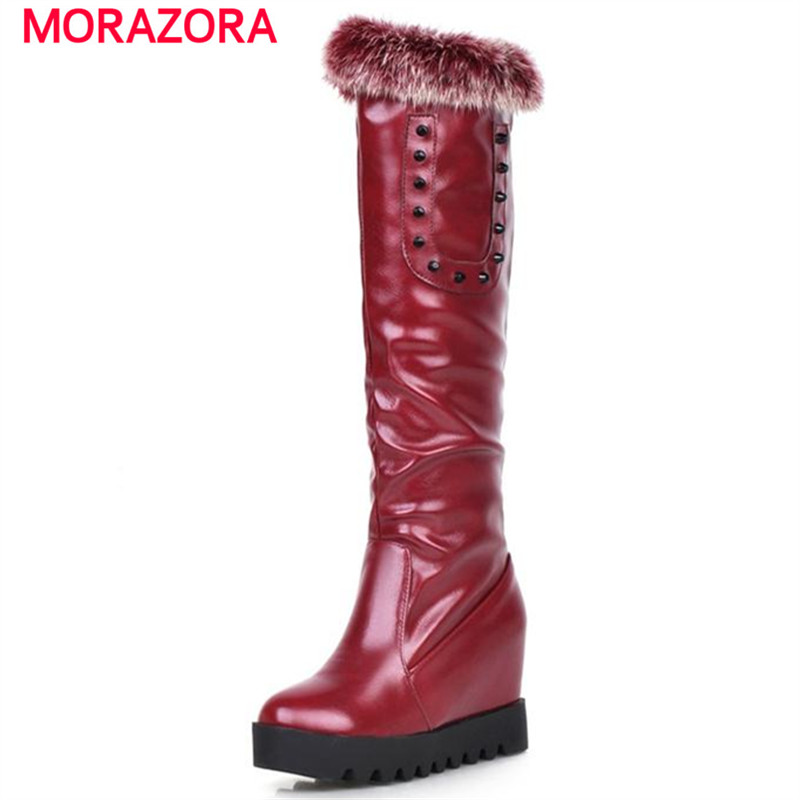 MORAZORA 2017 winter warm comfortable mid calf boots for women height increasing platform shoes rivets solid rabbit hair<br><br>Aliexpress