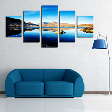 2016 5 Panels Wall Painting Mountain Blue Sky Lake Scenery Picture HD Canvas Print Painting Artwork Wall Art Canvas Painting