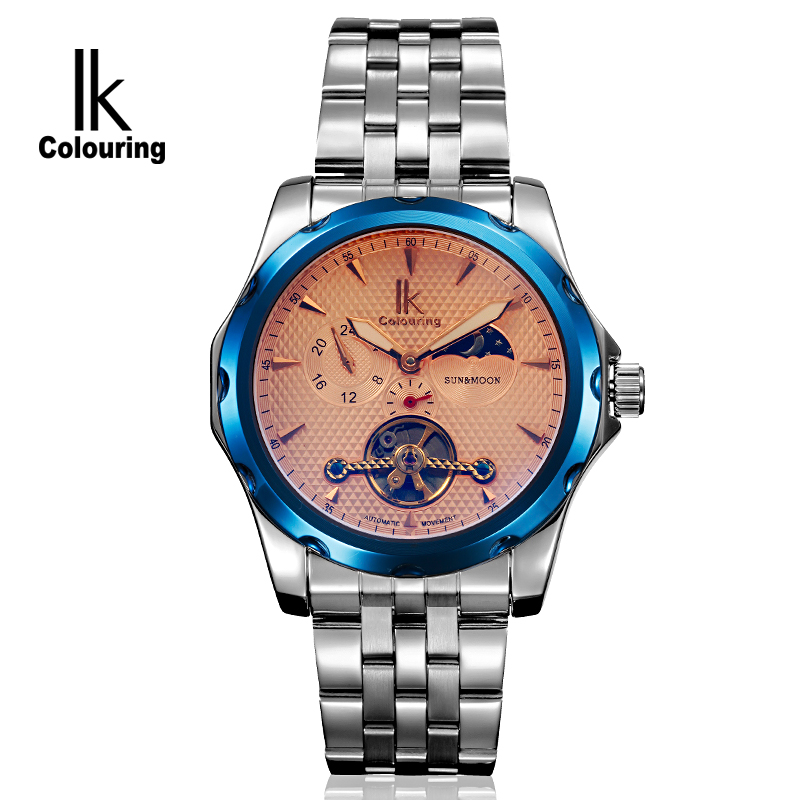 IK Colouring Mechanical Watch Moon Phase Stainless Steel Band Anodized Blue Bezel Male Automatic Wristwatch saat erkekler<br>