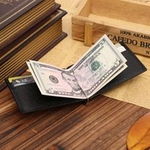 Luxury Brand Genuine Leather Men Wallet Purse Hold Bill With Male Slim Clamp For Money Clip Metal Holder Cash Credit Card Pocket