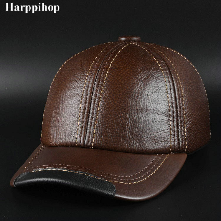 New winter fashion leather hat Mens Leather Baseball Cap Hat Haining leather peaked cap<br>