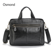 Osmond Genuine Leather Laptop Bag Men Totes Casual Man Messenger Bags Natural Leather Business Briefcase Handbag Crossbody Bag(China)