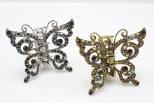1pc Rhinestone  Hairpin Brides  Hair Pins Clip Crystal Butterfly Gold Hair Claws Vintage  Hair Jewelry  Accessories F600-2