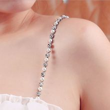 Hot New 1 Pair Women Bra Straps Diamante Detachable Single Row Clear Crystal Pearl Sexy Chain Bra Straps