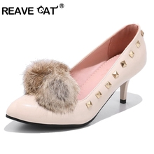 REAVE CAT women pumps fashion new design rivets shoes women sandals comfortable thin high heels summer autumn women's shoes A349(China)