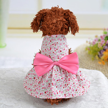 Spring summer dogs cats lovely floral princess bowknot dress doggy fashion wedding dress clothes pet clothing 1pcs XS-XL(China)