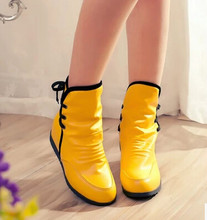 women boots autumn winter warm 2016 new sexy fashion pu lace-up Martin ankle boots black white red yellow waterproof flat shoes