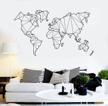 Map of The World Vinyl Wall Decal Home Decor Living Room Geometric Removable Abstract World Map Wall Sticker For Bedroom ZB262