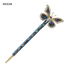 WXJCAN Classical enamel hairpin sticks Butterfly national characteristics high-quality drawing rhinestone process hairwear H1038(China)