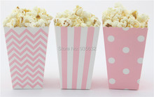 60pcs/lot (11.5*7*5cm) Party Supplies Mini Popcorn Boxes Chevron Dot Striped Candy Buffet Favor Party Paper Loot Bags