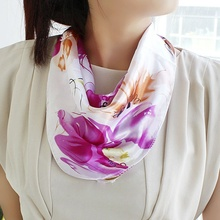Female Satin Bohemian Flower Print Square Scarves Kerchief New Design Fashion Apparel Accessories For Women Girl