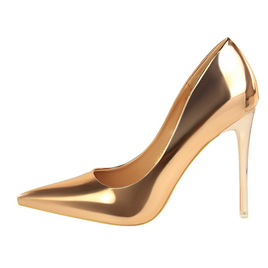 BIGTREE Patent Leather Thin Heels Office Shoes  Women Shallow Pumps Fashion High Heels Shoes Women Pointed Toe Sexy Shoes