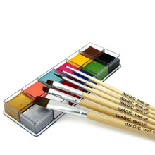 IMAGIC 12 Flash Tattoo Color+6pcs Paint Brush Halloween Face Body Paint Oil Paint Art Cosmetic Make Up Set Party Fancy Dress(China)