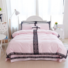 Korean Style Black Lace Solid Color Design Duvet Cover Bed Sheet Set 100% Cotton Princess White Pink Bedding Set(China)