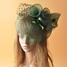 2017 New Yellow Green Green Dot Mesh Fascinators Grid Net Feather Veil Hairpin for Kentucky Derby Wedding Party Women Headwear(China)