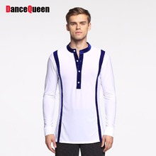 Cheap Latin Dancing Shirts For Males 2 Color S-XXL Size Bottom Tops Men Chacha Jazz Ballroom Game Presentation Dance Frock 10458