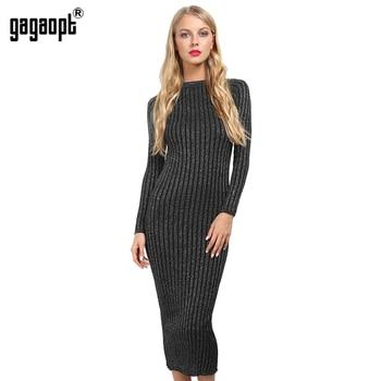 Gagaopt 2016 brilhante mulheres dress grosso malha listrado preto sexy bainha vestidos de festa manga comprida robes feminino vestidos