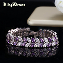 BlingZircons Trendy Big Leaf Shape Marquise Cut CZ Purple Crystal Bridal Wedding Bracelets Bangles Hand Jewelry For Women B009(China)