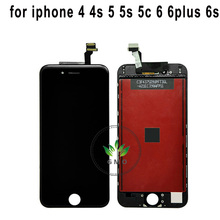 For iPhone 4 4s 5 5s se 6 6s 6s plus 6+ 6s+ 7 lcd Display Touch Screen Glass Complete Replacement Assembly for iphone6 black
