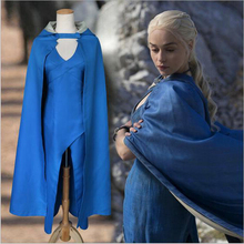 Blue Dress + Cape Daenerys Targaryen Costumes Song Ice Fire Game of Thrones Cosplay Vintage Halloween Costumes for women(China)